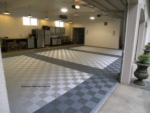Pearl Silver and Slate Grey Ribtrax Tiles for garage floor