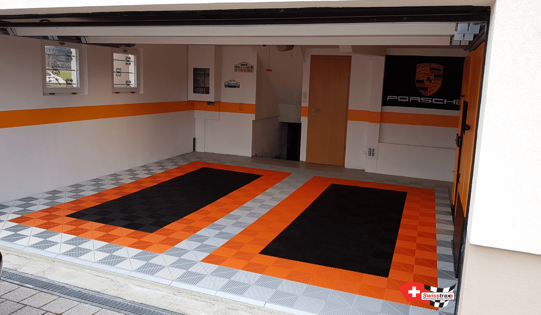 Garage floor with 2 car pads