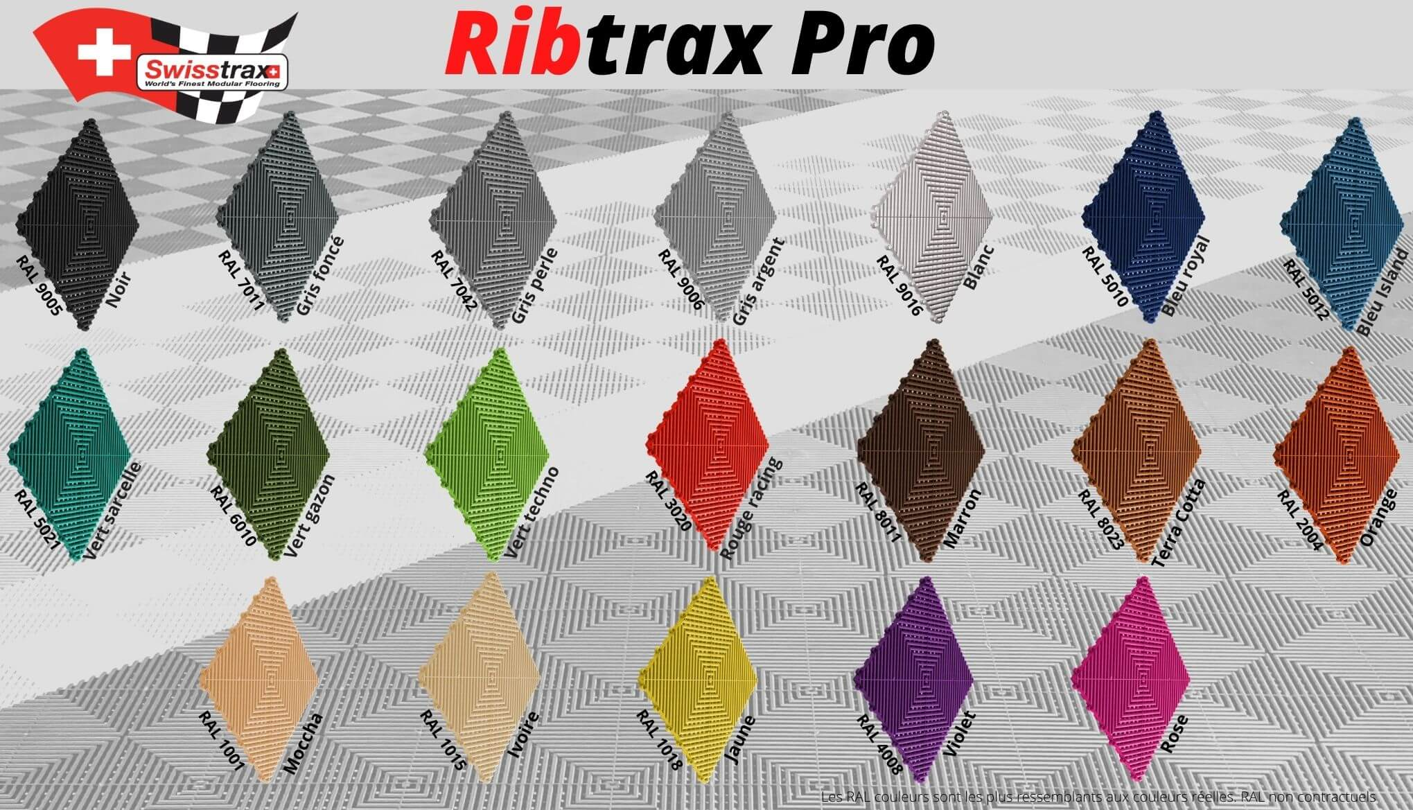 couleurs dalles de sol Ribtrax